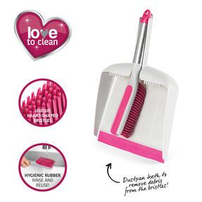 Kleeneze® KL076793EU7 Heart Rubber Head Dustpan and Brush Set   Easy to Store   Heart Shaped Bristles Thumbnail 10