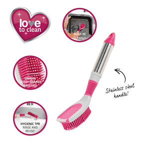 Kleeneze® KL076816EU7 Heart Rubber Head Oval Dish Brush | Suitable for a Variety of Dishes | Rubber Heart Shaped Bristles Thumbnail 9
