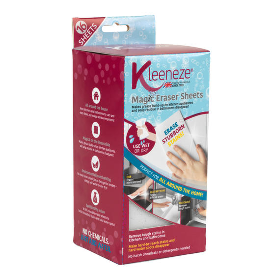 Kleeneze® KL080899EU7 Magic Eraser Sheets | 16 Pieces | Removes Tough Stains in Kitchens and Bathrooms | Clean Without Chemicals