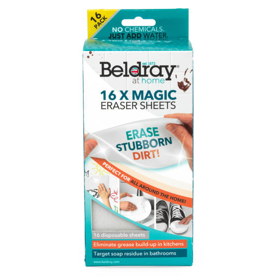 Beldray® LA080790EU7 Magic Eraser Sheets | 16 Pieces | Removes Tough Stains in Kitchens and Bathrooms | Clean Without Chemicals
