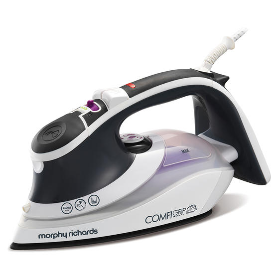 Morphy Richards 301022 Comfigrip Steam Iron with Ceramic Soleplate | 2400 W | 350 ml Water Tank | Pink and Grey
