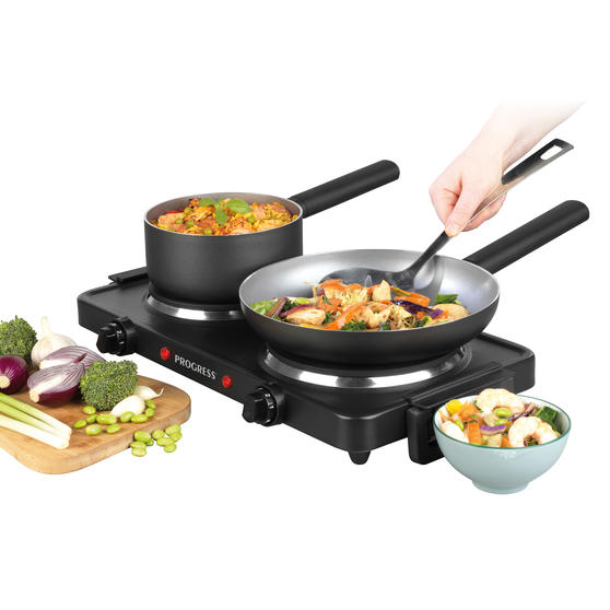 Carry Handles 1000 W and 1500 W Hobs Progress/® EK4399P Twin Hot Plate Dual Temperature Controls Portable and Compact