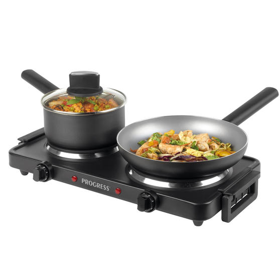 Progress® EK4399P Twin Hot Plate   Dual Temperature Controls   Carry Handles   Portable and Compact   1000 W and 1500 W Hobs