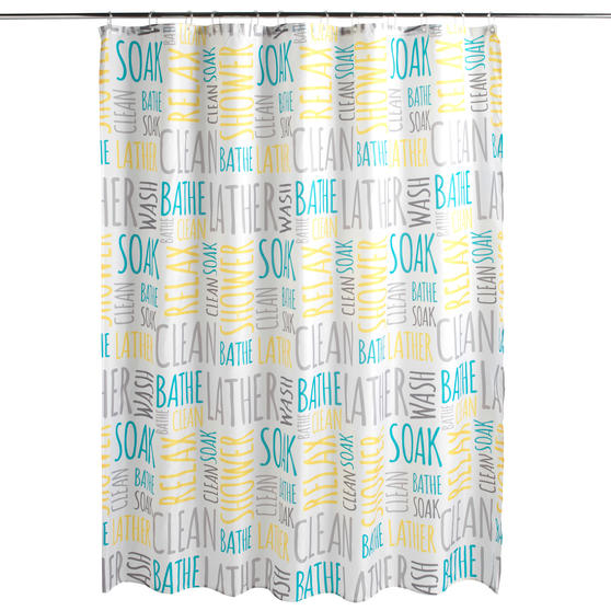 Beldray® LA059413WRDEGFOB Shower Curtain | Words Design | Quick and Easy to Hang | Includes 12 Hanging Hooks | Machine Washable