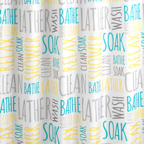 Beldray® LA059413WRDEGFOB Shower Curtain | Words Design | Quick and Easy to Hang | Includes 12 Hanging Hooks | Machine Washable Thumbnail 2