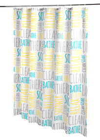 Beldray® LA059413WRDEGFOB Shower Curtain | Words Design | Quick and Easy to Hang | Includes 12 Hanging Hooks | Machine Washable Thumbnail 3