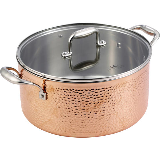 Bergner BGIC-3664 Infinity Chefs De Lux 20 cm Copper Tri-Ply Casserole Pot with Glass Lid | Stainless Steel | Copper Hammer Finish