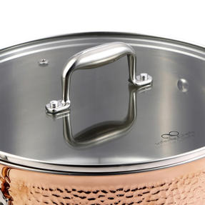 Bergner BGIC-3664 Infinity Chefs De Lux 20 cm Copper Tri-Ply Casserole Pot with Glass Lid | Stainless Steel | Copper Hammer Finish Thumbnail 2
