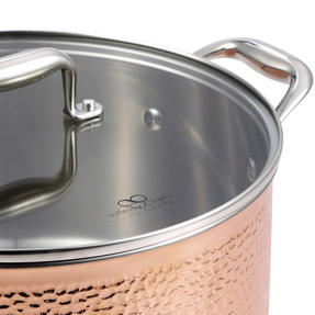 Bergner BGIC-3664 Infinity Chefs De Lux 20 cm Copper Tri-Ply Casserole Pot with Glass Lid | Stainless Steel | Copper Hammer Finish Thumbnail 3