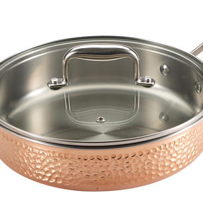 Bergner BGIC-3661 Infinity Chefs De Lux 24 cm Copper Tri-Ply Saute Pan with Glass Lid | Stainless Steel | Copper Hammer Finish Thumbnail 2