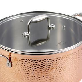 Bergner BGIC-3665 Infinity Chefs De Lux 24 cm Copper Tri-Ply Casserole Pot with Glass Lid | Stainless Steel | Copper Hammer Finish Thumbnail 2