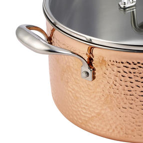 Bergner BGIC-3665 Infinity Chefs De Lux 24 cm Copper Tri-Ply Casserole Pot with Glass Lid | Stainless Steel | Copper Hammer Finish Thumbnail 3