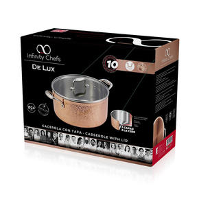Bergner BGIC-3665 Infinity Chefs De Lux 24 cm Copper Tri-Ply Casserole Pot with Glass Lid | Stainless Steel | Copper Hammer Finish Thumbnail 4
