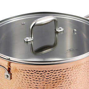 Bergner BGIC-3666 Infinity Chefs De Lux 28 cm Copper Tri-Ply Casserole Pot with Glass Lid | Stainless Steel | Copper Hammer Finish Thumbnail 2