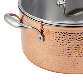 Bergner BGIC-3666 Infinity Chefs De Lux 28 cm Copper Tri-Ply Casserole Pot with Glass Lid | Stainless Steel | Copper Hammer Finish Thumbnail 3