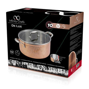 Bergner BGIC-3666 Infinity Chefs De Lux 28 cm Copper Tri-Ply Casserole Pot with Glass Lid | Stainless Steel | Copper Hammer Finish Thumbnail 4