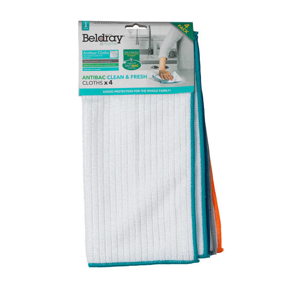Beldray® LA077677UFEU7 4-Pack Anti-Bac Clean & Fresh Cloths | Washable and Reusable | Ideal for Cleaning Kitchens and Bathrooms