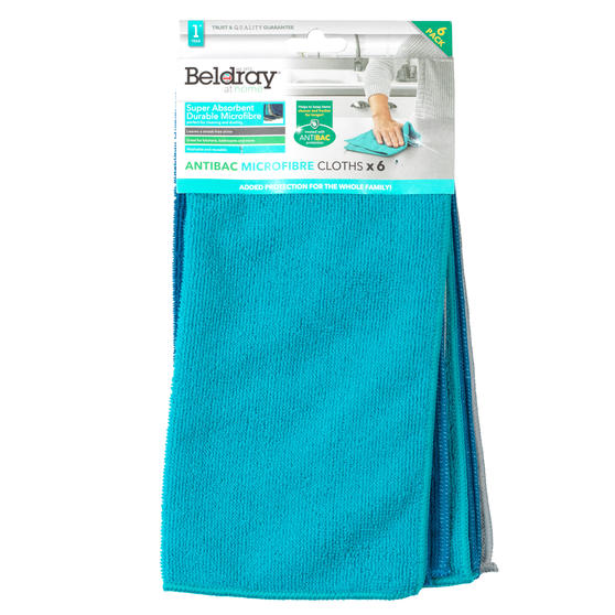 Beldray® LA077707UFEU7 6-Pack Super Absorbent Anti-Bac Microfibre Cloths | Perfect for Cleaning or Dusting | Washable and Reusable