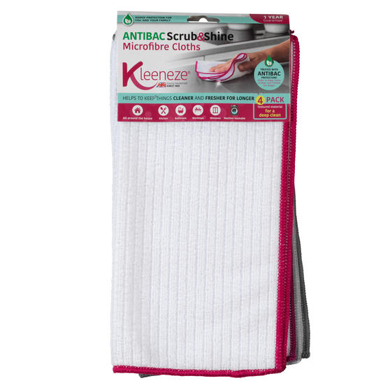 Kleeneze KL077714EU7 Microfibre Antibac Dish Cloths| Super Absorbent| Pack of 4| Pink