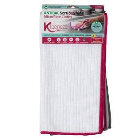 Kleeneze KL077714EU7 Microfibre Antibac Dish Cloths| Super Absorbent| Pack of 4| Pink Thumbnail 1