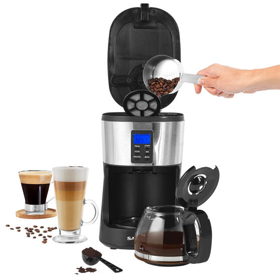 Salter® EK4368 Caffe Bean to Jug Coffee Maker | Perfect for Fresh Coffee | Integrated Grinding Blade | Programmable Timer | Auto Shut-Off