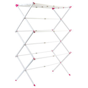 Kleeneze KL078834EU7 Three-Tier Clothes Airer | 7M Drying Space | 72 x 43 x 104 cm | Pink/White Thumbnail 2