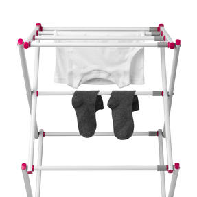 Kleeneze KL078834EU7 Three-Tier Clothes Airer | 7M Drying Space | 72 x 43 x 104 cm | Pink/White Thumbnail 3