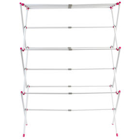 Kleeneze KL078834EU7 Three-Tier Clothes Airer | 7M Drying Space | 72 x 43 x 104 cm | Pink/White Thumbnail 5