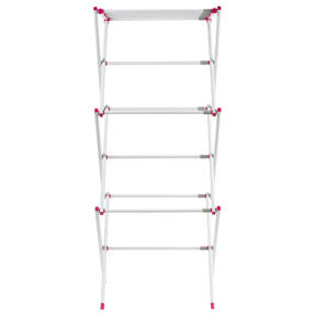 Kleeneze KL078834EU7 Three-Tier Clothes Airer | 7M Drying Space | 72 x 43 x 104 cm | Pink/White Thumbnail 6