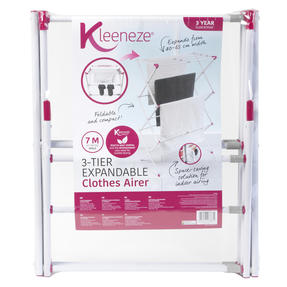 Kleeneze KL078834EU7 Three-Tier Clothes Airer | 7M Drying Space | 72 x 43 x 104 cm | Pink/White Thumbnail 8