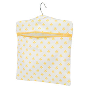 Kleeneze® KL081575EU7 Busy Bee Hang On The Line Peg Bag | Easy Hanging Hook | Holds Up To 50 Pegs | 33 x 30cm | Yellow/White
