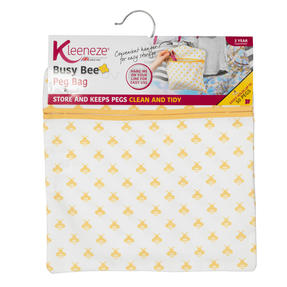 Kleeneze® KL081575EU7 Busy Bee Hang On The Line Peg Bag | Easy Hanging Hook | Holds Up To 50 Pegs | 33 x 30cm | Yellow/White Thumbnail 6