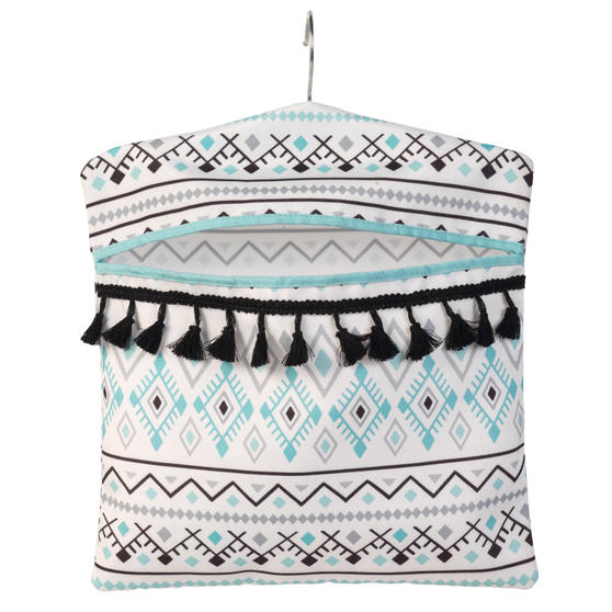 Beldray® LA081551EU7 Aztec Hang On The Line Peg Bag | Easy Hanging Hook | Holds Up To 50 Pegs | 33 x 30cm | Blue/Grey/White