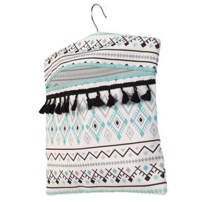 Beldray® LA081551EU7 Aztec Hang On The Line Peg Bag | Easy Hanging Hook | Holds Up To 50 Pegs | 33 x 30cm | Blue/Grey/White Thumbnail 2