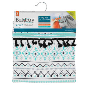 Beldray® LA081551EU7 Aztec Hang On The Line Peg Bag | Easy Hanging Hook | Holds Up To 50 Pegs | 33 x 30cm | Blue/Grey/White Thumbnail 5