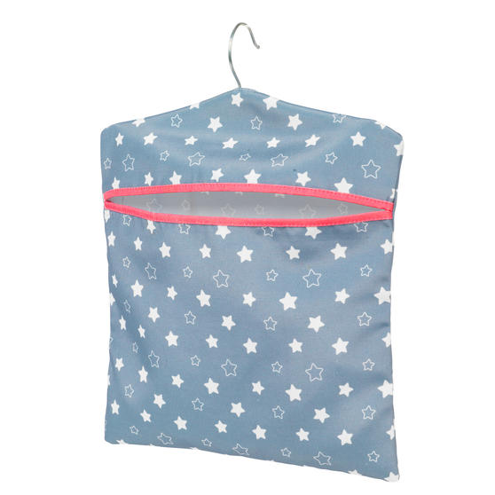 Kleeneze® KL081599EU7 Twinkle & Shine Hang On The Line Peg Bag | Easy Hanging Hook | Holds Up To 50 Pegs | 33 x 30cm | Blue/Pink/White
