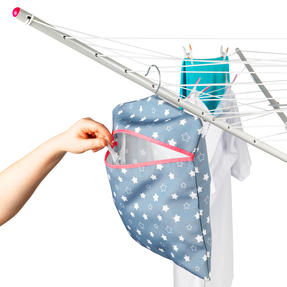 Kleeneze® KL081599EU7 Twinkle & Shine Hang On The Line Peg Bag | Easy Hanging Hook | Holds Up To 50 Pegs | 33 x 30cm | Blue/Pink/White Thumbnail 4
