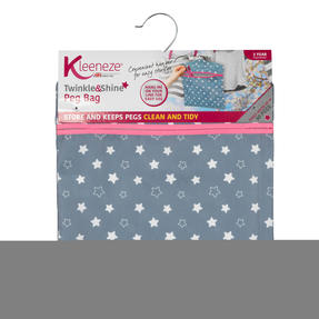 Kleeneze® KL081599EU7 Twinkle & Shine Hang On The Line Peg Bag | Easy Hanging Hook | Holds Up To 50 Pegs | 33 x 30cm | Blue/Pink/White Thumbnail 6