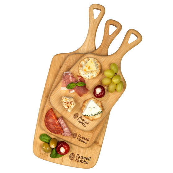 Russell Hobbs® RH01971 3 Piece Bamboo Paddle Chopping Board Set   Strong and Durable   Protects Kitchen Worktops   Reversible