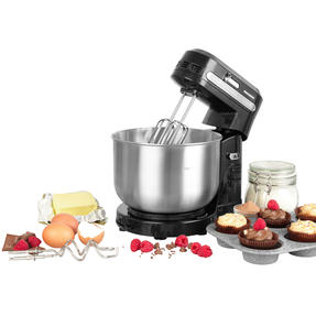 Progress® EK4470P Compact Stand Mixer   350 W   3.5 L   5 Speed Settings   Includes Dough Hook and Mixing Beater Attachments   Rotating Mixing Bowl