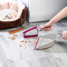 Kleeneze® KL081872EU7 Dual Rubber Head Dustpan And Brush with Squeegee Edge, Pink/Grey Thumbnail 2