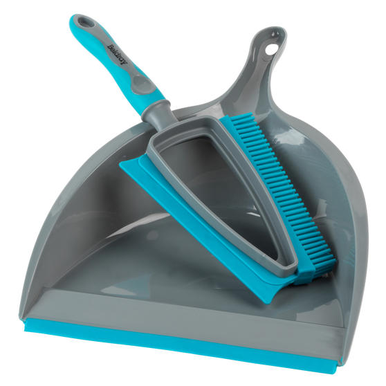 Beldray® LA081278EU7 Pet Plus+ 2 In 1 Lift & Trap Dual Rubber Head Dustpan And Brush with Squeegee Edge, Turquoise/Grey