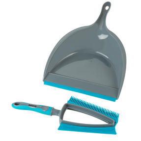 Beldray® LA081278EU7 Pet Plus+ 2 In 1 Lift & Trap Dual Rubber Head Dustpan And Brush with Squeegee Edge, Turquoise/Grey Thumbnail 4