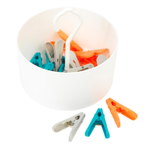 Beldray® LA081759EU7 24 Ultra Grip Clothes Pegs in Basket, Assorted Colours
