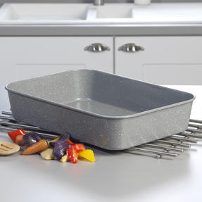 Salter® BW10156 Marblestone Deep Roaster | PFOA Free | Carbon Steel | 40cm | Grey Marble Thumbnail 3