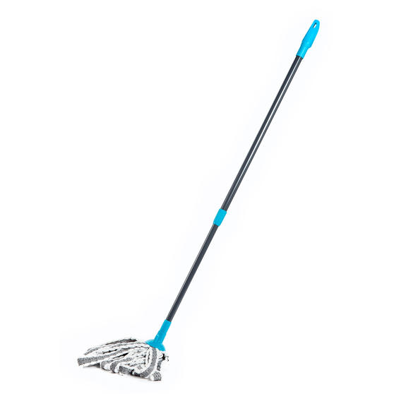 Beldray® LA049179UFEUB AntiBac Telescopic Cloth Mop With Replacement Mop Head| Treated with Anti-Bac Protection | 128cm Extendable Handle | Super Absorbent