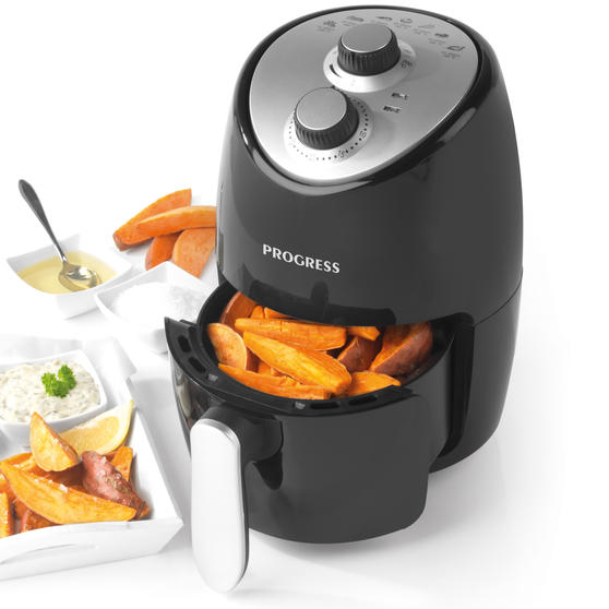 Progress® EK2817HP Compact Healthy 1000W Hot Air Fryer| 2 L With 60 Minute Timer & Ready Indicator Lights| Removable Non-Stick Coated Rack | Black