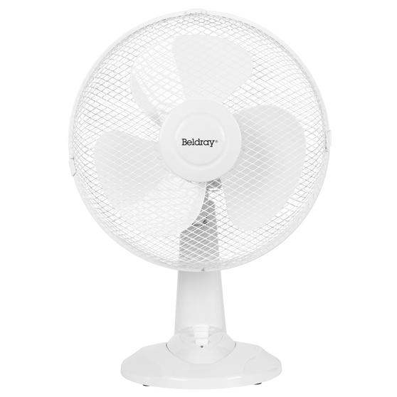 """Beldray® EH3401 12"""" Desk Fan with 3 Speed Settings and Adjustable Head   35 W   Ideal for Homes/Offices/Personal Workspace   White"""