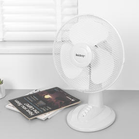 """Beldray® EH3401 12"""" Desk Fan with 3 Speed Settings and Adjustable Head   35 W   Ideal for Homes/Offices/Personal Workspace   White Thumbnail 2"""