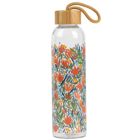 Cambridge® CM07089MA Stylish Bryanni Glass Bottle With Bamboo Lid, 550 ml, Leak-Proof, Reusable